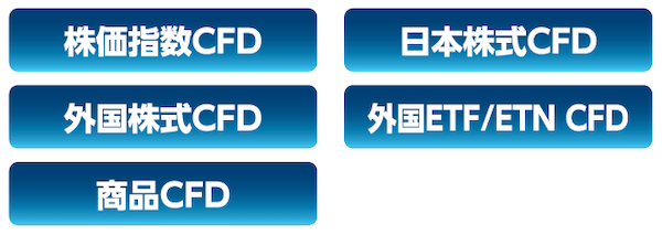 株価指数CFD、日本株式CFD、外国株式CFD、外国ETF/ETN CFD、商品CFD