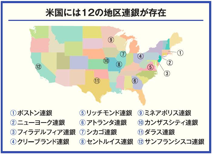 米国には12の地区連銀が存在